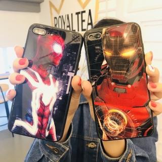 Ốp Lưng Kính Cường Lực Iron Man vs Spider Man