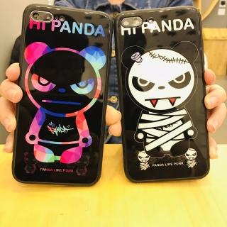 Ốp Lưng Kính Cường Lực Panda Mặt Quỷ