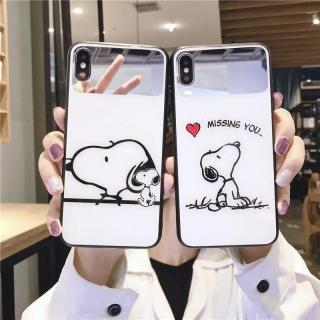 Ốp Lưng KÍnh Cường Lực Snoopy - Lens Gương