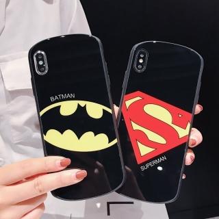 [ IPHONE ] Ốp Lưng Kính Cường Lực Viền Cong Superman & Batman