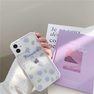 [ SALE LỖ ] [ IPHONE ] Ốp Lưng Trong Suốt  Viền Màu Silicon Purple Flowers