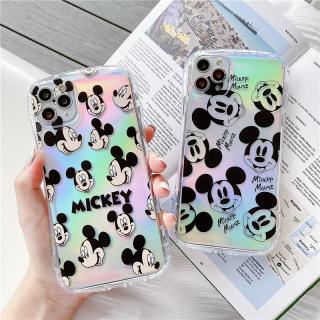 [ IPHONE ] Ốp Lưng Viền Cong Silicon Trong Suốt Chống Sock, Va Đập Mickey Face ( Kèm Miếng Phản Quang )