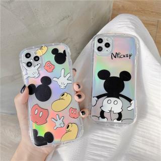 [ IPHONE ] Ốp Lưng Viền Cong Silicon Trong Suốt Chống Sock, Va Đập Chuột Mickey ( Kèm Miếng Phản Quang )