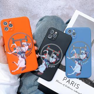 Ốp Lưng Silicon Màu Bảo Vệ CAMERA Đính Đá Hermes Paris