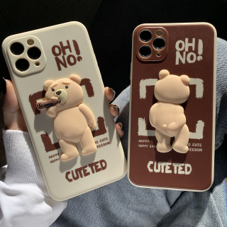 Ốp Lưng Silicon Màu Bảo Vệ CAMERA Hình Nổi Cute Ted